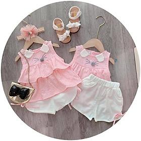 Bộ quần áo chuột caro áo hồng quần chip trắng cho bé gái từ 8kg đến 18kg