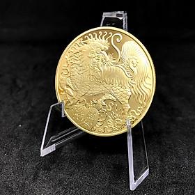 Đồng Xu Con Kỳ Lân Màu Vàng - Tặng Kèm Túi Gấm Đỏ - Quà Tặng Dành Cho Dịp Tết Canh Tý 2020 - TMT Collection