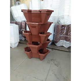 Bộ 1 Tháp trồng rau hữu cơ 5 tầng- 5 chậu- trồng rau/ hoa/ dâu tây- chất liệu nhựa- độ bền cao- hiệu quả cao- giao màu ngẫu nhiên