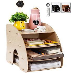 Kệ bàn học hình Cong - bàn làm việc nhỏ gọn, tiện ích - Kệ đựng hồ sơ tài liệu để bàn - Kệ sách mini - Kệ lưu trữ tài liệu giấy A4, A5 bằng gỗ - Vui lòng chọn Mẫu