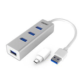 Hub USB 3.0 4 Ports + ĐĐ Type-C Unitek (Y-3082B)  - HÀNG CHÍNH HÃNG