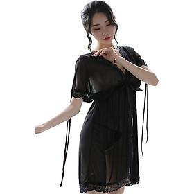 Váy ngủ sexy táp ren dạng lưới quyến rũ tặng quần lọt khe SX20 sang trọng, bộ đồ ngủ nội y gợi cảm ( Free size từ 45 - 60kg )