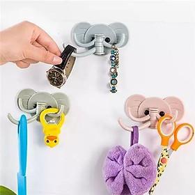Móc treo đồ đa năng3 chạcdán tường hình con voi chịu lực tốt sử dụng cho phòng ngủ, phòng tắm, nhà bếp tiện lợi (giao màu ngẫu nhiên )