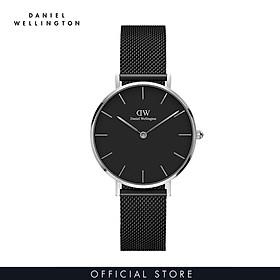 Đồng hồ Daniel Wellington dây lưới - Petite Ashfield đen-bạc