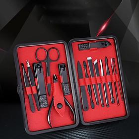 Bộ cắt, bấm móng tay, bộ kiềm cắt bằng thép titan không gỉ, Hộp da thiết kế dạng ví cầm tay cao cấp