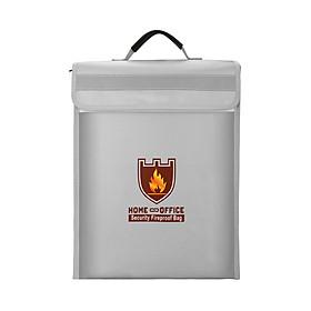 Túi Silicone Đựng Tài Liệu Chống Cháy Có Tay Cầm (15x11x2.56 inch) - Màu Bạc