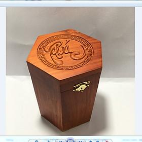 Hộp đựng trà - hộp đựng chè gỗ hương chữ phúc lục giác loại cao to