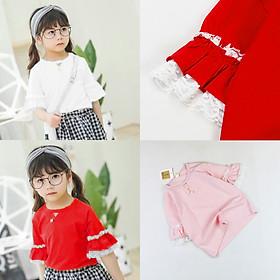Áo thun tay xoè phối ren cho bé gái hàng Quảng Châu từ 14 đến 26 kg 01623-01624