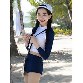 Bộ Đồ Bơi Nữ Hai Mảnh Tay Dài Thun Co Giãn HMAT062 MayHomes