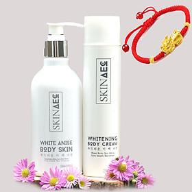 Combo Skin AEC Tẩy Tế Bào Chết Làm Mịn Sáng Da White Anise Body Skin (250ml) - Skin AEC Whitening Body Cream (150ml) + tặng kèm vòng tay tỳ hưu may mắn