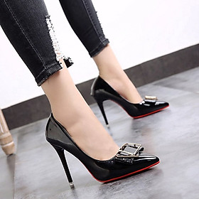 Giày Cao Gót Nữ Mũi Nhọn Bằng Da Bóng 10cm