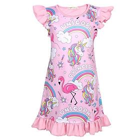 Đồ Ngủ Trẻ Em Cô Gái Unicorn Dresses Bay Tay Áo Cầu Vồng Unicorn Dress Cho Trẻ Em Cô Gái 3-10 Năm
