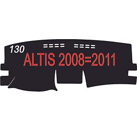Thảm da Taplo vân Carbon Cao cấp dành cho xe Toyota Altis 2010 có khắc chữ Toyota Altis và cắt bằng máy lazer