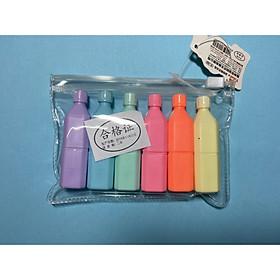 Vỉ 6 bút dạ quang hình chai nước dễ thương