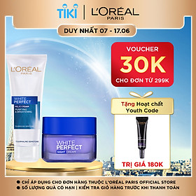 Bộ sữa rửa mặt và kem dưỡng da ban đêm L'Oreal Paris White Perfect 50ml