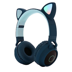 Cute Cat Ear Bluetooth 5.0 Headphones Foldable On-Ear Stereo Wireless Headset with Mic LED Light Support FM Radio/TF Card/Aux in for Smartphones PC Tablet
