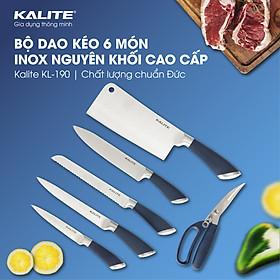 Bộ dao kéo 6 món Kalite KL 190, gồm 5 dao 1 kéo, chất liệu inox nguyên khối cao cấp, hàng chính hãng