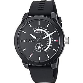 Tommy Hilfiger Men's Denim Quartz Watch with Silicone Strap, Black, 19.4 (Model: 1791483)