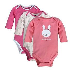 Set 3 bộ áo liền quần chip dài tay bé gái 0-12m - Giao màu ngẫu nhiên