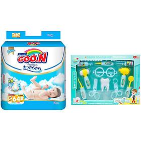 Tã Dán Goo.n Premium Gói Cực Đại S64 (64 Miếng) - Tặng Bộ đồ chơi bác sĩ