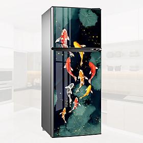 Decal Tủ Lạnh, Miếng Giấy Dán Dùng Để Trang Trí Tủ Lạnh - Chủ Đề Hình Cá (Cửu Ngư Quần Hội) - Không Thấm Nước, Không Bay Màu, Hình Ảnh Rõ Nét