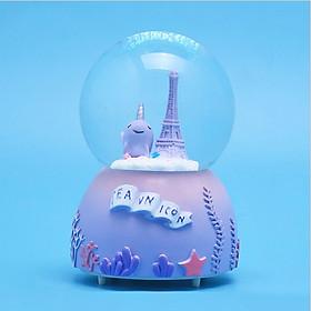 Quả cầu pha lê tuyết có hộp phát nhạc và đèn phát sáng xinh xắn kèm pin tiện ích - giao hình ngẫu nhiên