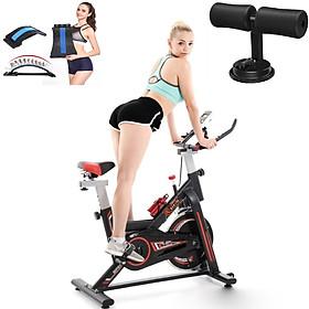 Xe đạp tập thể dục tập thể thao tập gym tại nhà thế hệ mới tặng kèm hít tập cơ bụng + khung nắn chỉnh cột sống + đồng hồ chỉ số + bình nước thể thao