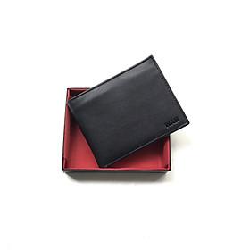 Bóp nam / Ví nam WAN da bò thật kiểu dáng ngang cổ điển sang trọng W04 màu đen (Full box)