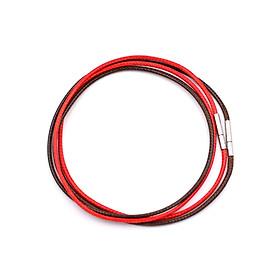 Combo 2 dây vòng cổ cao su nâu, đỏ móc inox DCSNO1 - Dây dù bọc cao su