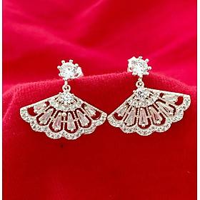 Bông tai nữ Bạc Quang Thản, khuyên tai bạc dáng dài gắn đá cobic trắng phong cách cá tính thích hợp đeo thời trang làm quà tặng - QTBT59(
