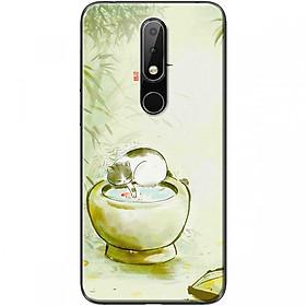 Ốp lưng dành cho điện thoại Nokia 5.1 Plus Mẫu Mèo và lu nước