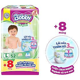 Tã quần Bobby mới L52 - Lõi nén thần kì 3mm - Siêu mỏng khô thoáng bất ngờ - Tặng thêm 8 miếng