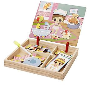 Bộ đồ chơi gỗ ghép hình chăm sóc em bé