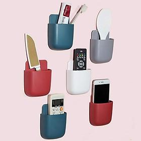 Combo 2 Hộp nhựa đựng điều khiển remote, điều hoà, tivi, giá treo điện thoại khi sạc dán tường đa năng - giao màu ngẫu nhiên