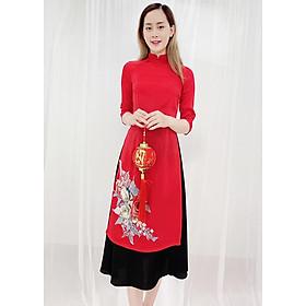 Áo Dài Cách Tân Kiểu Set Áo Dài Đính Hoa Nổi lấp Lánh Kèm Chân Váy ROMI 3164