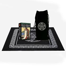 Combo Bộ Bài Bói Smith Waite Tarot – Borderless Edition Cao Cấp và Túi Nhung Đựng Tarot và Khăn Trải Bàn Tarot