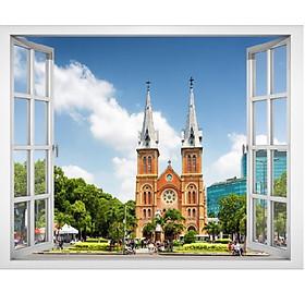 Tranh dán tường cửa sổ cảnh Sài Gòn - Nhà Thờ Đức Bà - VT0388