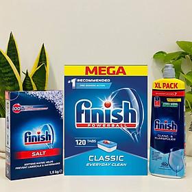 Combo muối rửa bát Finish 1,5kg+viên rửa bát Finish 120 viên+Nước làm bóng bát chén finish 800ml