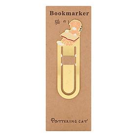 Bookmark Kim Loại Mèo Lười Đọc Sách