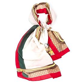 Khăn Choàng Cổ Lụa Sọc Đỏ Xanh Nền Be Viền Đỏ - Silk - Mã KS032