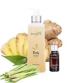 Combo tiết kiệm - Dầu massage body Premium B6 200ml TẶNG tinh dầu Sả Chanh 20ml thương hiệu BIYOKEA