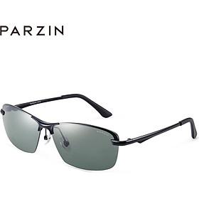 PARZIN 2019 new polarized sunglasses male metal half-frame glasses driver driving male sunglasses 8232 gun frame black gray tablets