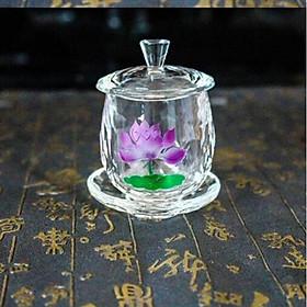 Chến thờ, ly nước cúng Phật hình bông sen pha lê cao cấp