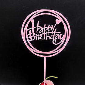Hình đại diện sản phẩm Cake Topper Cupcake Flags Beautiful Happy Birthday Acrylic Party Decorations DIY