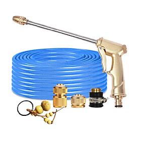Bộ dây vòi xịt nước rửa xe, tưới cây đa năng, tăng áp 3 lần, loại 7m, 10m 206701-3 đầu đồng,cút đồng+tặng móc khoá