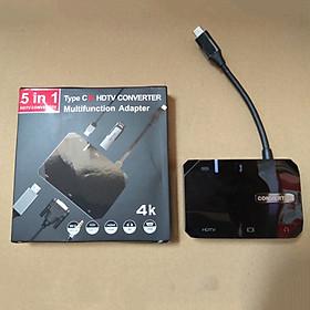 Thiết bị mở rộng USB type-C sang HDMI, VGA/ Hub USB 3.0 hỗ trợ sạc USB-C 50209 - 5in1-AV 30hz