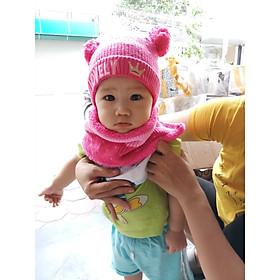 Hình ảnh Bộ mũ và khăn len loly cho bé