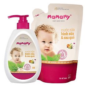 Nước Rửa Bình Sữa Và Rau Quả An Toàn Cho Bé Mamamy (600ml/Chai) + tặng kèm 1 túi bổ sung cùng loại