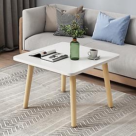 Bàn trà sofa vuông chân gỗ sồi