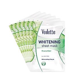 Combo 6 Mặt Nạ Trắng Hồng Tự Nhiên Vedette Whitening Sheet Mask Set (Cucumber) 22mlx6